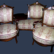 Victorian Renaissance Revival Parlor Set with Porcelain Plaques