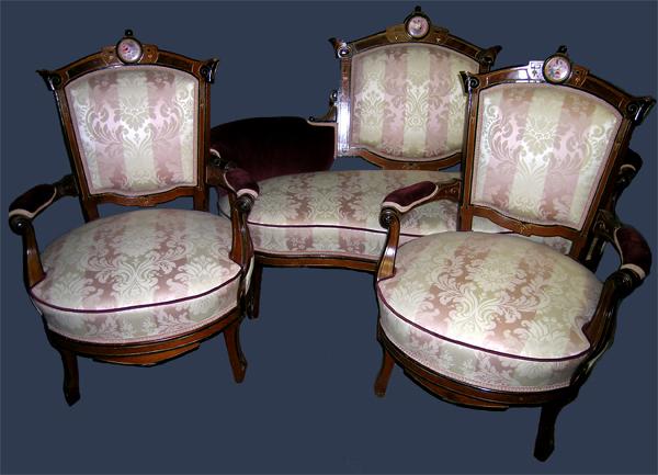 Victorian Renaissance Revival Parlor Set with Porcelain Plaques