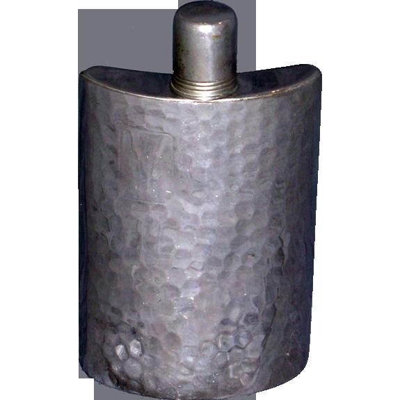 Vintage Hammered Silver Hip Flask