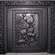 "Late Victorian Cast Iron Fireplace Insert ""Summer Cover"""