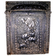 "Cast Iron ""Summer Cover"" Fireplace Insert With Deer"