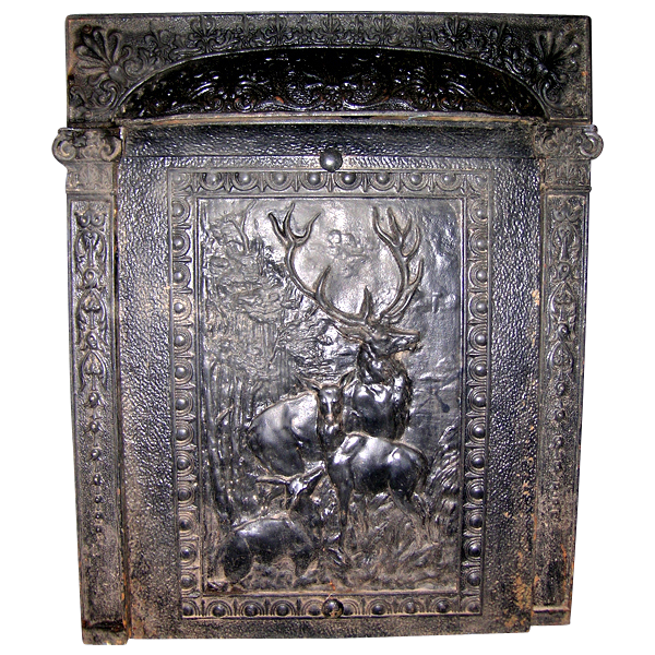 Iron Fireplace Cover.  Cast Iron Summer Cover Fireplace Insert With Deer SOLD Ruby Lane