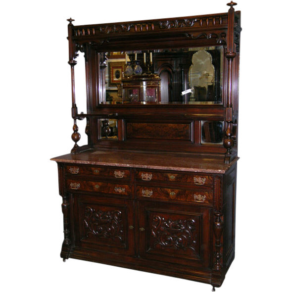 Monumental American Victorian Sideboard In Walnut From
