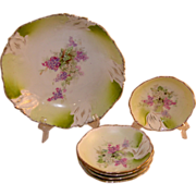 Six Piece Victorian Hand Painted Berry Set
