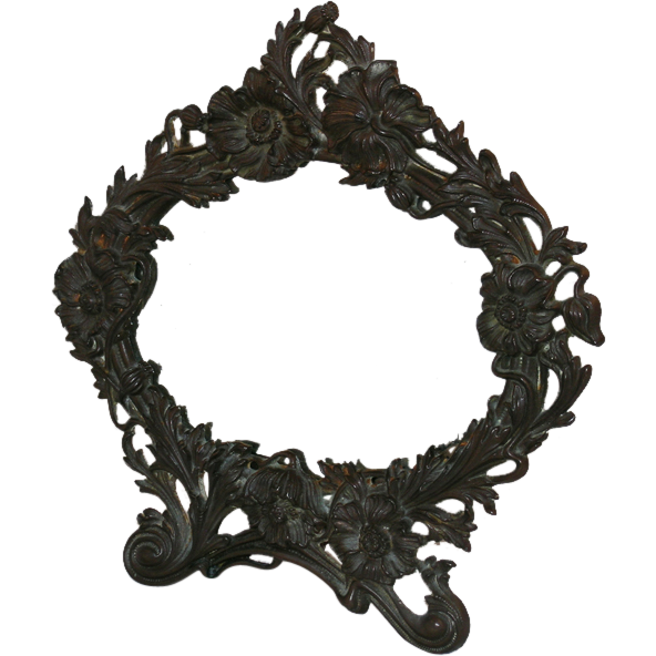 Art Nouveau Cast Iron Table Top Mirror/Frame