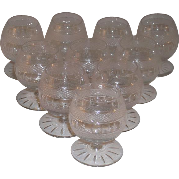 Set of Ten Vintage Miniature Brandy Snifters