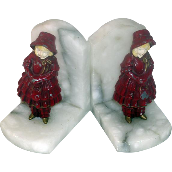 Red Riding Hood Cold Painted Metal, Marble and Ivorine Book Ends