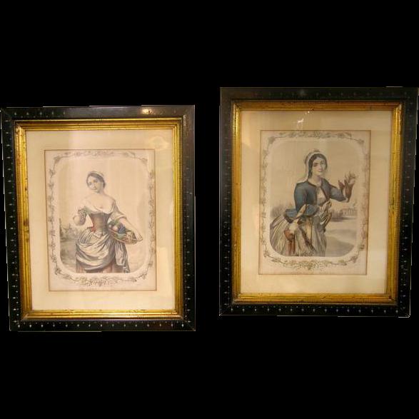 """Pair Antique Lithographs """"Autumn"""" & """"Winter"""" Sarony & Major NY"""
