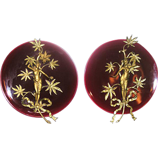 Pair 19th Century French Majolica Wall Plaques