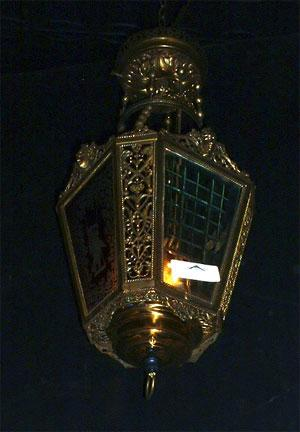 Elaborate Cast Brass and Red Glass Hanging Light