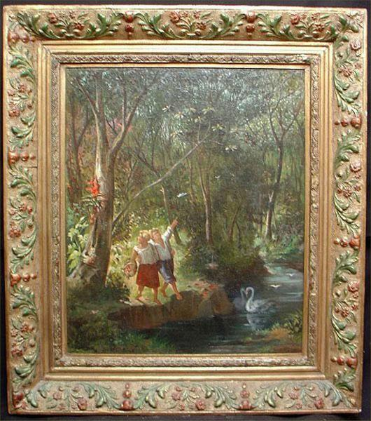 Circa 1875 European Oil on Canvas Forest Scene With Couple