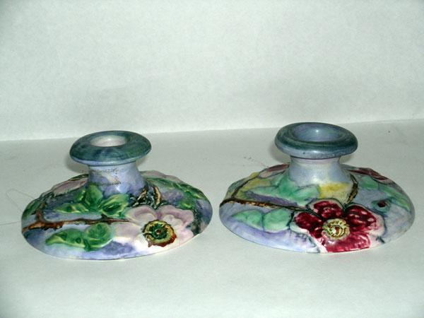 Circa 1910.   Weller Ware Arts & Crafts Pair of Candle Sticks