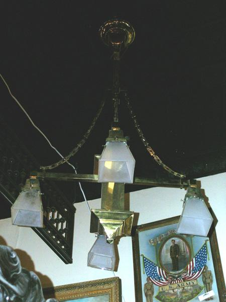 Circa 1910.  Arts & Crafts or Mission Style Chandelier