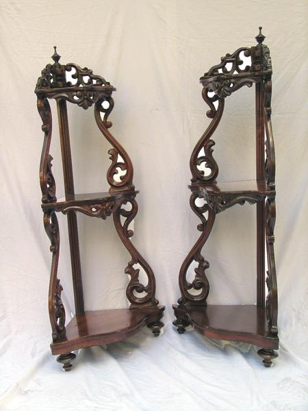 Pair of American Rococo Corner Etageres in Walnut