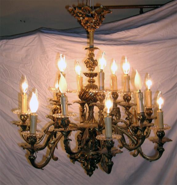 19th century French cast bronze eighteen arm Rococo chandelier