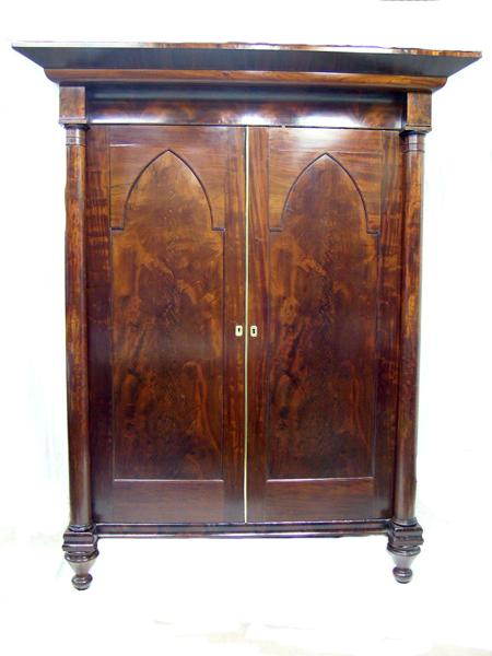 Period American Empire/Classical Armoire in the Gothic Taste