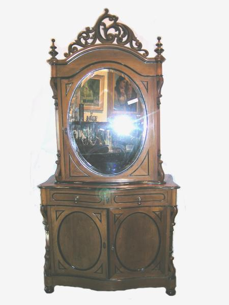 English, Late Victorian Two Toned, Two Part Mirrored Cabinet