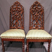 American Pierce Carved Rococo Parlor / Hall Chairs