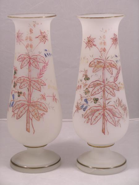 19th Century Bristol Glass Mantel Vases