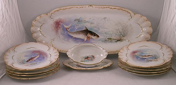 19th Century Limoge Fish Set