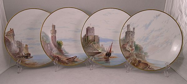 Set Of Four Minton Scenic Plates