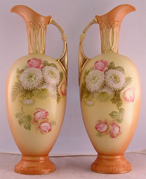 Large Pair Of Grecian Style Mantel Ewers
