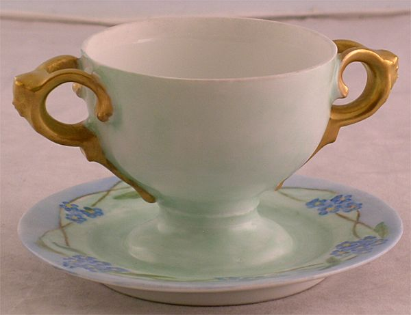 Rosenthal Hand Painted Double Handled Bullion Cup