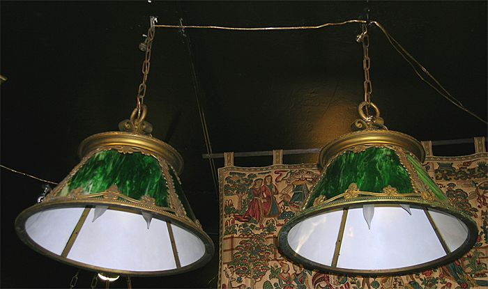 Pair Arts & Crafts Hanging Lights Green Slag Glass