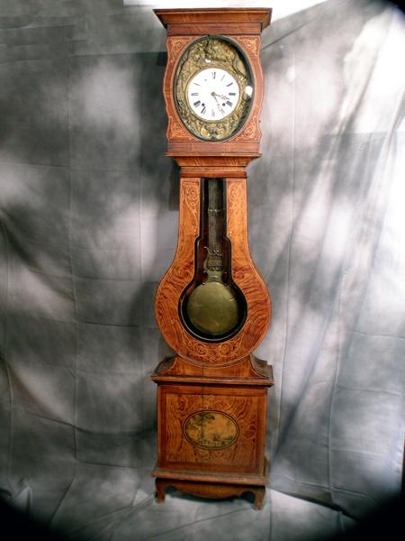 Circa 1850.  French Country Tall Case Clock in Hand-Painted Pine