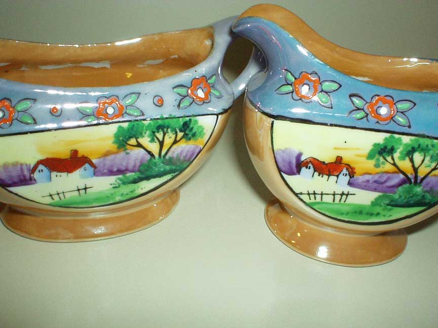 MIJ Hand-Painted Luster-Ware Sugar and Creamer Set