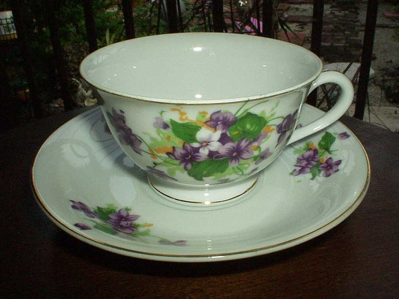 'Violets' Set of Porcelain  Plate and Saucer