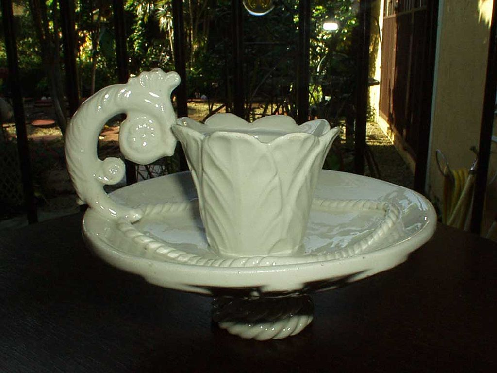 White  Porcelain Candlestick with Handle