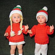 Pair of Dressed Rubber Dolls - Western Germany
