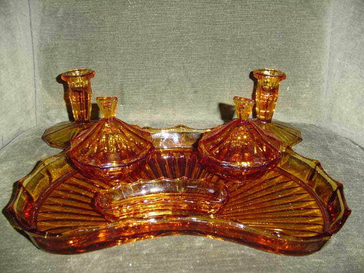 Amber British Deco  Glass Dressing Set