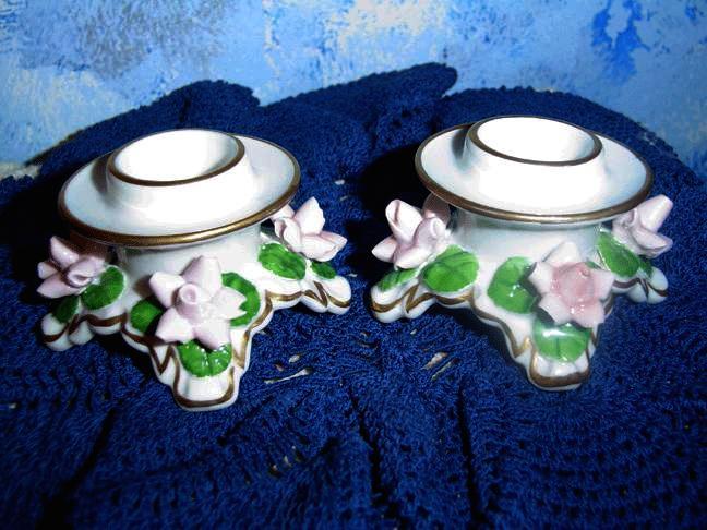 Pink Flower Candle Holder Set