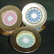 Nevco Set of 6 Metal Glass Coasters with Flowers
