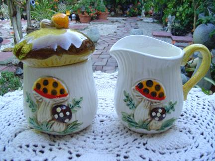 Sears 'Merry Mushroom'  Set of Creamer and Sugar with Lid