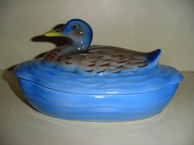 Gorgeous Blues 'PV' Czechoslovakian  Porcelain Covered Dish