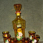 'Lubiana' Italian Amber Glass Liquor Set
