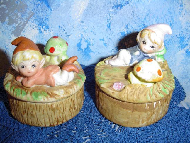 Homco Pixie Elf Round Trinket Box