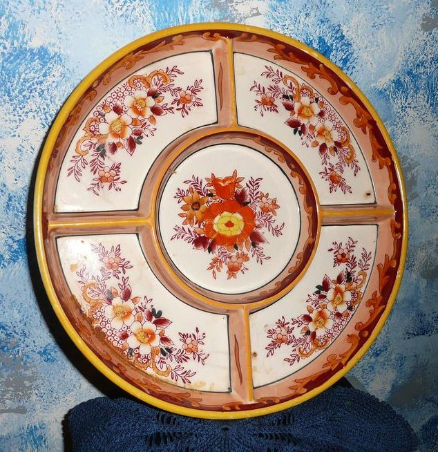 Orange Flowers Divided  Pottery Dish