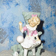 Vintage Vase  Girl Playing with Ball