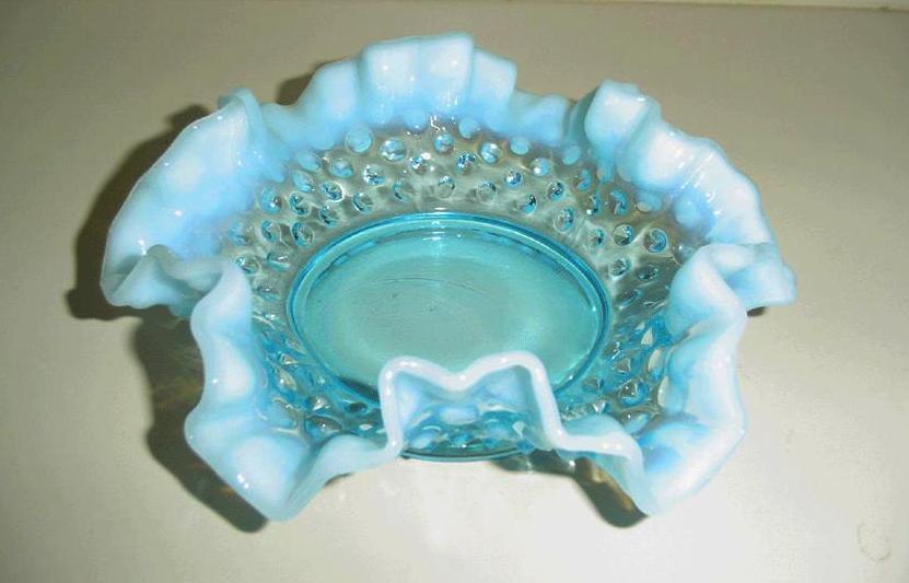 Fenton Blue Opalescent Hobnail  Dish