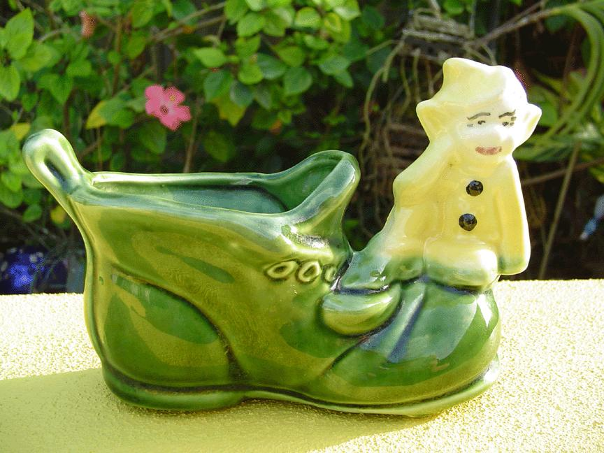 Vintage Pixie Elf on Shoe Planter
