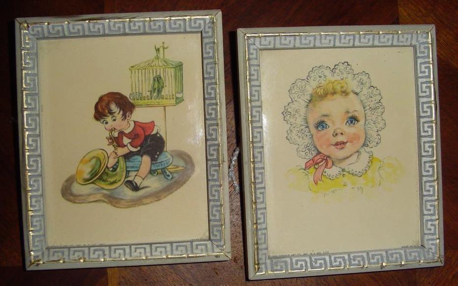 1956 Pair of Children Pictures