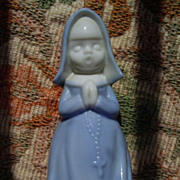 Vintage Blue Praying  Roman Catholic Nun