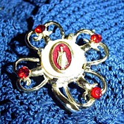 Vintage Sacred Heart of Jesus Pin with Red Stones