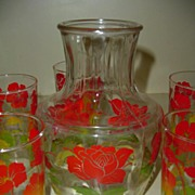 1950's  set of Juice and Pitcher and Glasses