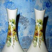 Twin Bel-Terr 22 Kt. Gold Daisies  Vases