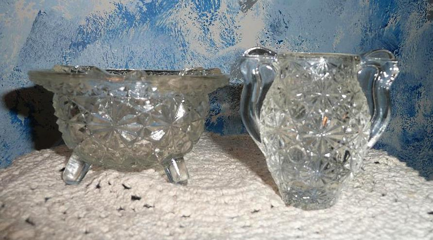 Daisy & Button Pattern  Clear Glass Ashtray and Amphora